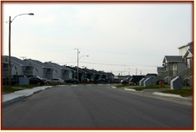 A typical street view of Chisasibi residences.