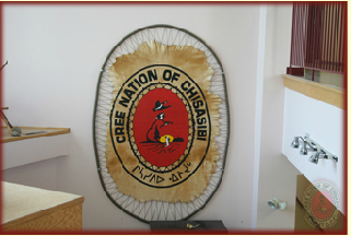 Cree Nation of Chisasibi logo, painted on a Moose hide.