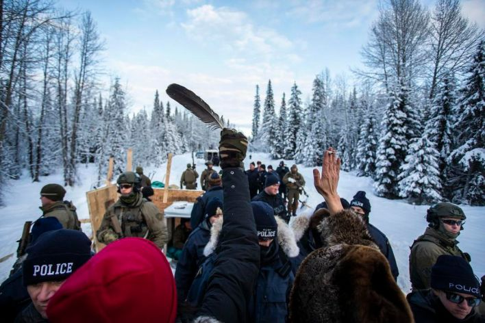 The Wet'suwet'en protest camp at Gidimt'en on the morning the Police moved in to clear several barricades.  Source.