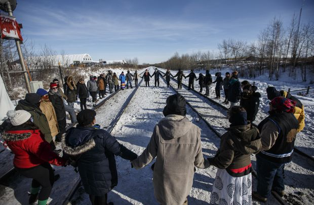 An anti-pipeline sympathy protest near Edmonton Alberta.