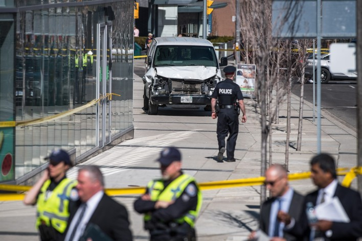 The aftermath of the 23 Apr 2018 Toronto Van attack, where a useless Incel skin-bag (who's name I won't mention) murdered ten innocent people.