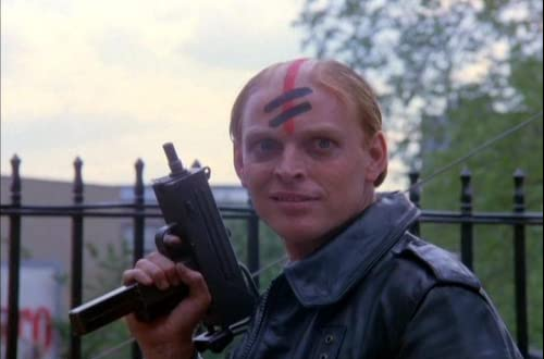Yes. The gang members in this movie all have this tattoo. Never thought I'd be nostalgic for the hair styles featured in 'The Warriors.'