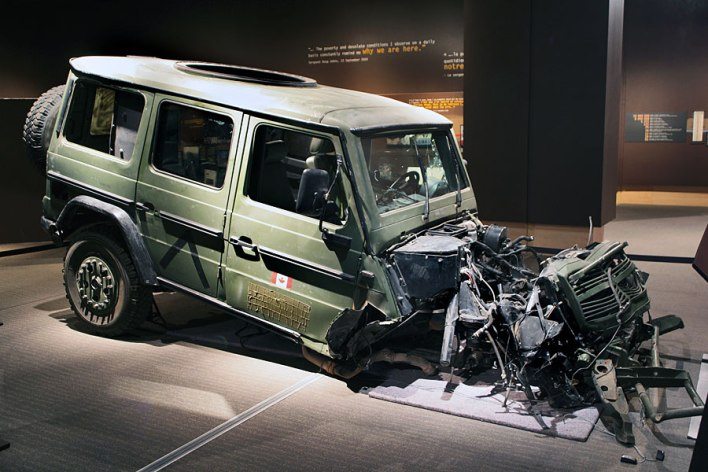 The remains of a CAF G-Wagon that struck an IED. The two passengers survived the explosion that blew the engine block over a hundred meters down the road. The vehicle is now on display at the Canadian War Museum.